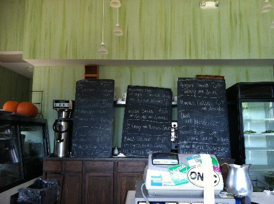 The Green Bean: Chalkboard menu -- I assume it's always changing