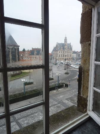 Steenhuyse: View from our room on the Market Place and the Town Hall
