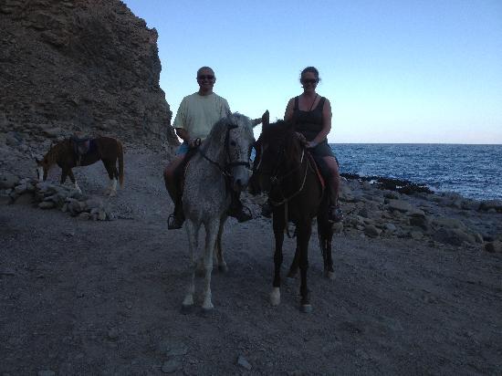 Horseriding Dahab: Debra and Paul horse riding along coast from Happy Life Village, Dahab