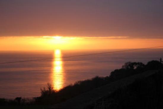 Strete Barton House: Vue du lever de soleil de notre chambre