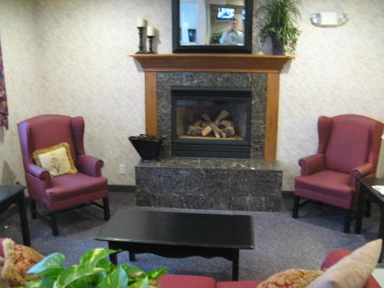 Microtel Inn & Suites by Wyndham Ames: Lounge Fireplace area