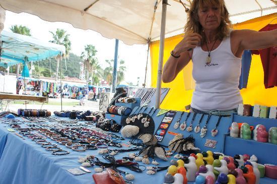Handmade jewelry using Caribbean underwater artifacts at the Marigot Markets
