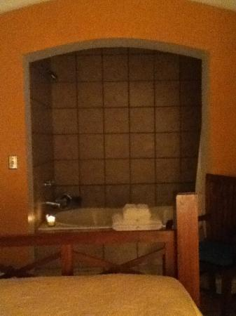 Sierra Grande Lodge & Spa: View of the bath from the bed in room 101