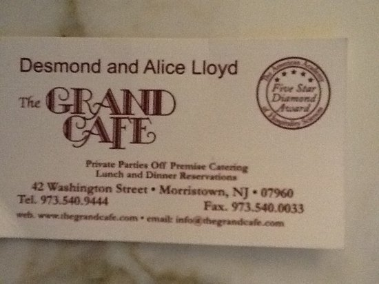 Dining at the grand cafe picture of the grand cafe morristown the grand cafe business card reheart Images