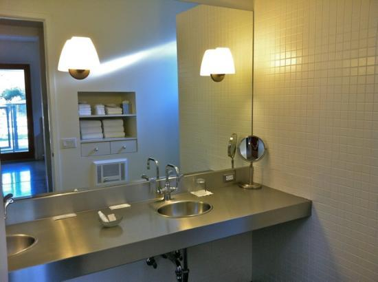 The Duchamp Healdsburg: large counter with two sinks, good storage behind