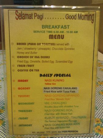 Minahasa Hotel Manado: breakfast menu