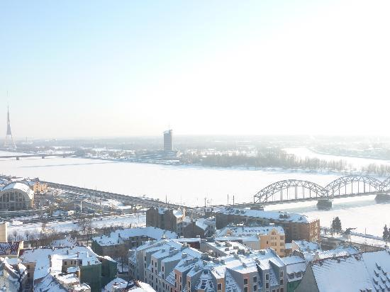 View of Riga from St Peter's Church Tower : View of River Daugava