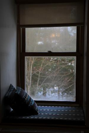 Auberge le Cosy Tremblant: Windown in ou room - it was great to watch the snow!