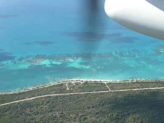Barbuda Cottages: cottage beachfront view from plane