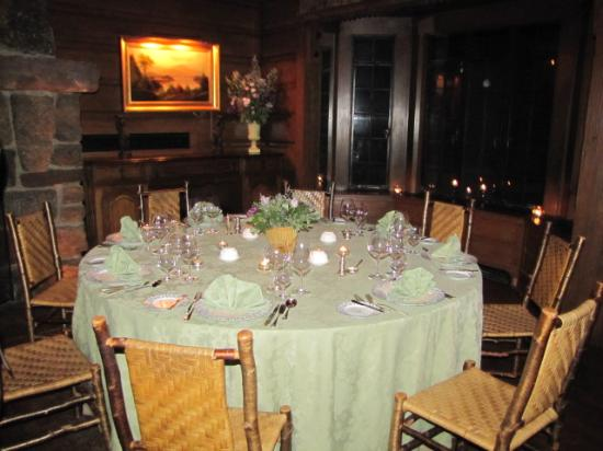 The Point: dinner table set up on first night