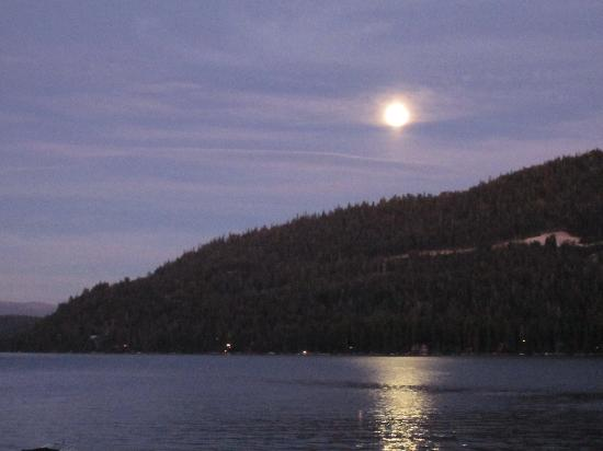 Donner Lake Village: View from our balcony during a full moon