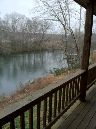 River Hideaway: the view from the deck: Rainbow Cabin