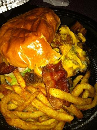 Eatzi's Market & Bakery: bacon cheese burger with fries.