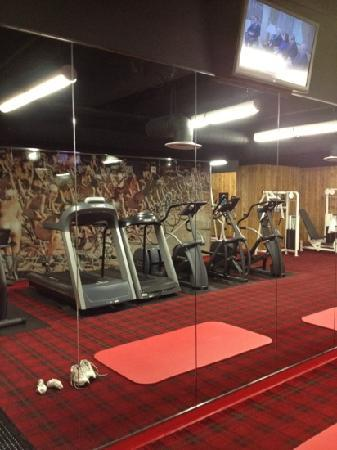 The standard exercise room with naked ladies mural picture of