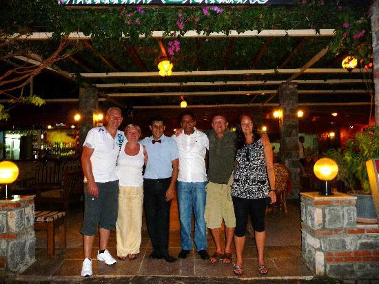Madras Indian Restaurant: Stoo outside with friends and the owner