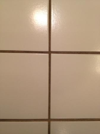 Bristol Harbor Inn : grout on bathroom tile floor, yuk