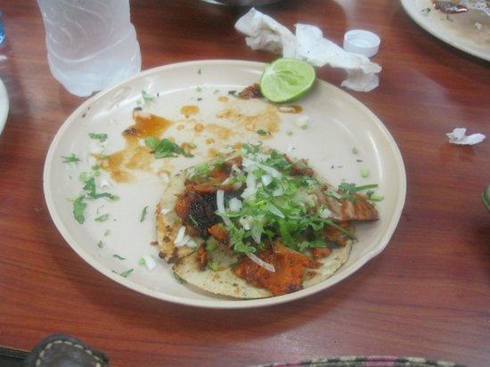 Pepe's taco: 2 down....1 to go!! Tacos al Pastor