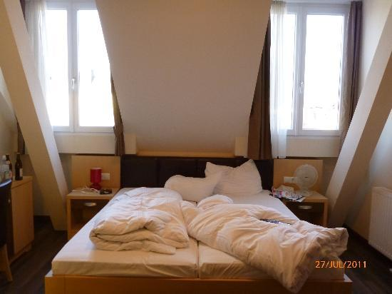 Hotel Guter Hirte: room..sorry about the mess