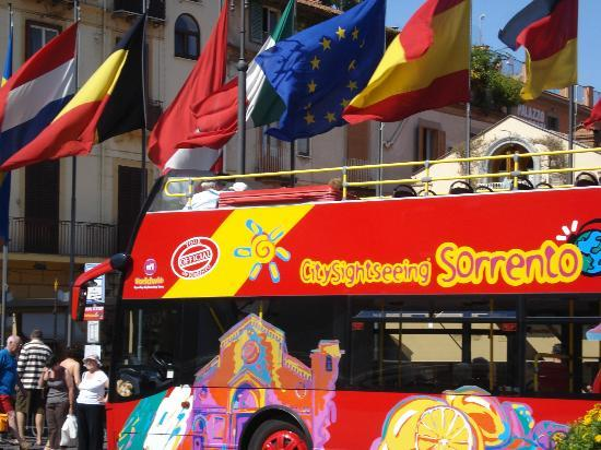 City Sightseeing Sorrento - Day Tours : dettaglio del bus a piazza tasso