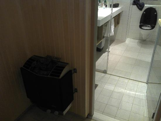 Clarion Collection Hotel Planetstaden: the sauna heater and back to the shower cabin