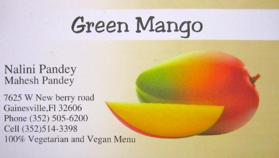 Business card picture of the green mango gainesville tripadvisor the green mango business card colourmoves