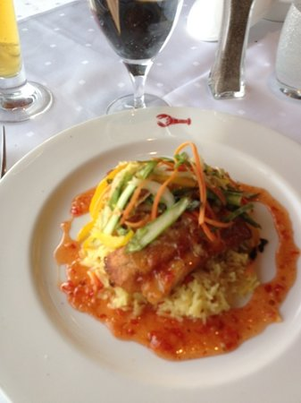 Joe Muer Seafood: Grouper with a spicy & sweet sauce, cooked perfectly.