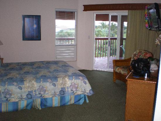 Wyndham Shearwater: master bedroom with door out to lanai