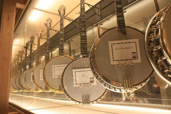 American Banjo Museum : Hanging banjo display on second floor.