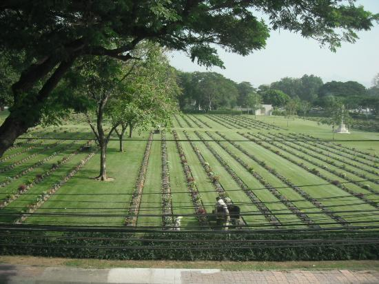 The Thailand-Burma Railway Centre: View of cemetery taken from the museum