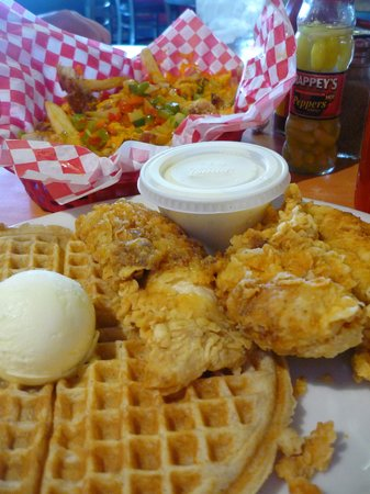 Lo Lo's Chicken and Waffles: our Stupid Fries and chicken and waffles