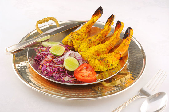 Rang Mahal Restaurant: Tandoori Prawns - Jumbo prawns marinated in exotic Indian spices, finished in a charcoal oven