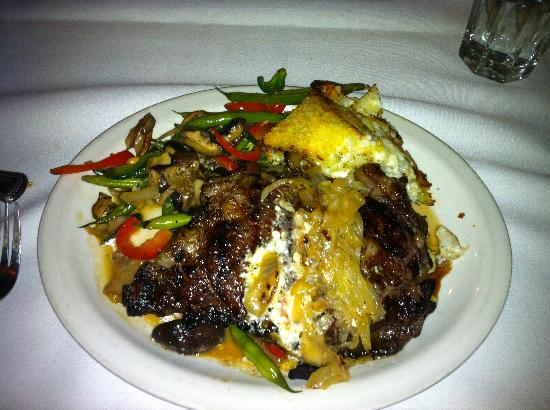 Snake Creek Grill: Ribeye steak topped with grilled onions