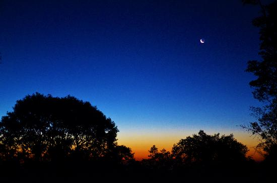Mukteshwar, India: Dawn: Crescent Moon