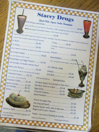 Stacey Rexall Drugs & Old Tyme Soda Fountain: Fountain menu.  February 2012.