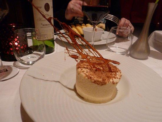 Le Bistro Melrose : Iced Grande Marnier soufle with spun sugar