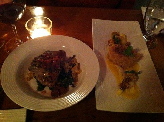 Play Food & Wine: Quail (left) and tuna tartare