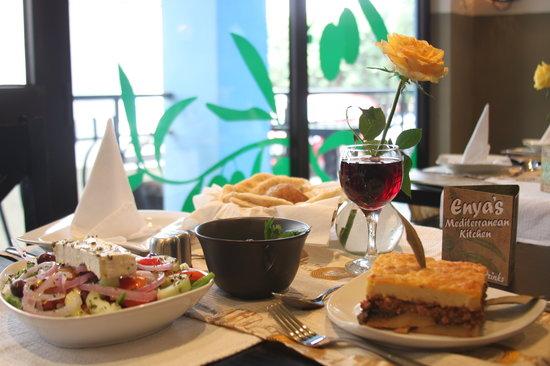 Enya's Mediterranean Kitchen: Mousaka, Greek Salad  & tzatziki