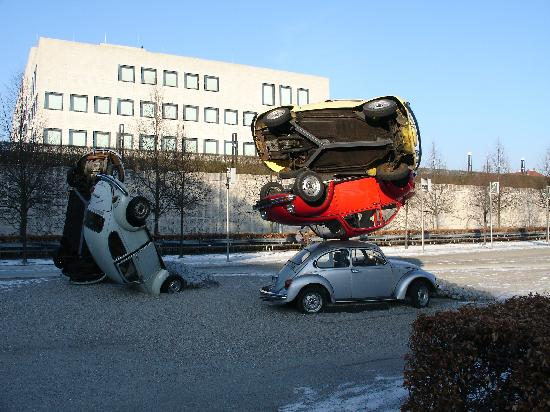 Center for Art and Media : Modern art in front of ZKM