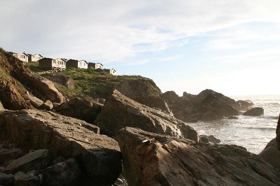Steep Ravine Cabins: View of cabins from beach