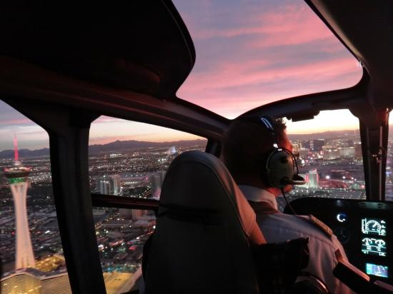 Maverick Helicopters: Over the Strip at sunset