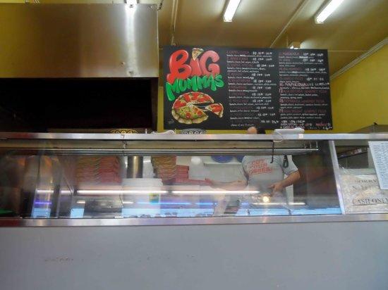Big Mummas Pizza: Big Mummas counter and big menu sign