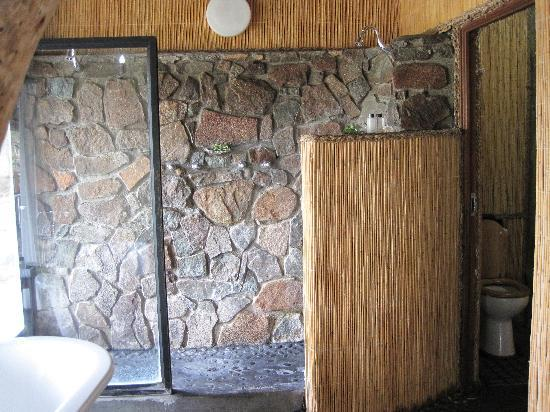 Leopard Hills Private Game Reserve: shower with door that leads outside to pool