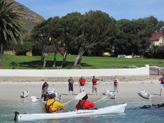 Kayak Cape Town: Landing on the beach for a swimming break