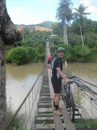 Fieldskills Adventures - Day Tours: crossing a suspension bridge
