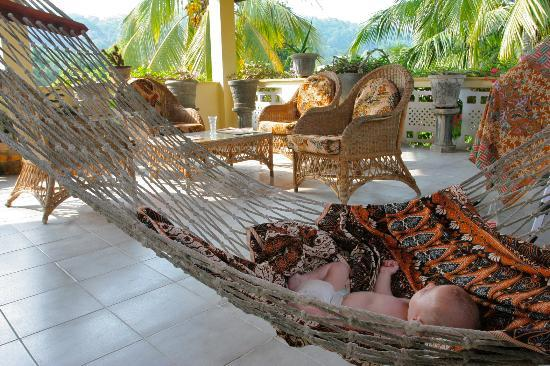 Palm Grove: The boy loved the hammock and warm breeze.