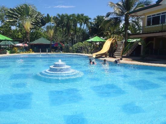 Angela's Farm: big swimming pool area with fountain and fun slide