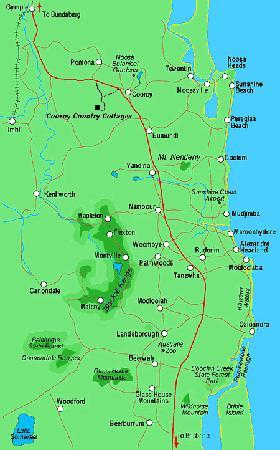Cooroy Country Cottages: Sunshine Coast area map
