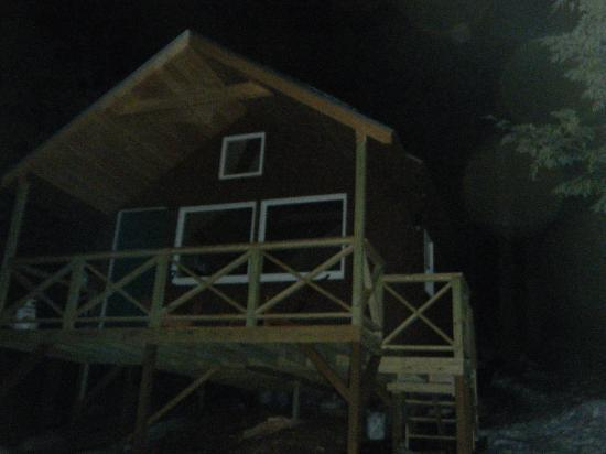 Shawnee Peak: The cabin by night