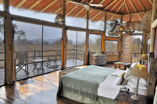 Tree house interior at Tarangire Treetops