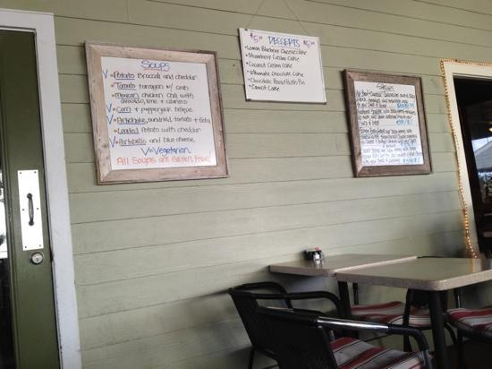 Five Loaves Cafe: specials at lunch on the patio